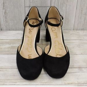 Sam Edelman Clover black suede block heels 8W
